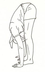 pada hastasana, posizione delle mani ai piedi