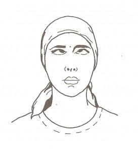 shambhavi mudra (sguardo fisso al centro tra le sopracciglia)