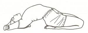 Supta vajrasana (posizione del fulmine dormiente) - variante
