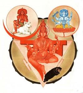 Divinità entro il Manipura chakra: Vahni, Rudra e Lakini