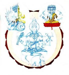 Le divinità in Vishuddha chakra: Ambara, Sadashiva, Shakini (in senso antiorario dal basso)