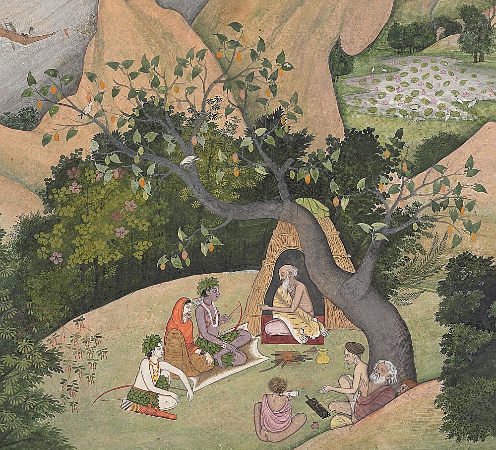 Sita, Rama e Lakshmana presso l'Eremo di Bharadvaja